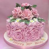 ruffle birthday cake, rose birthday cake, sugar flower spray, pink birthday cake, 30th birthday cake, roses and daisies, rose and flower birthday cake, womans birthday cake
