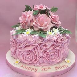 ruffle 30th birthday cake
