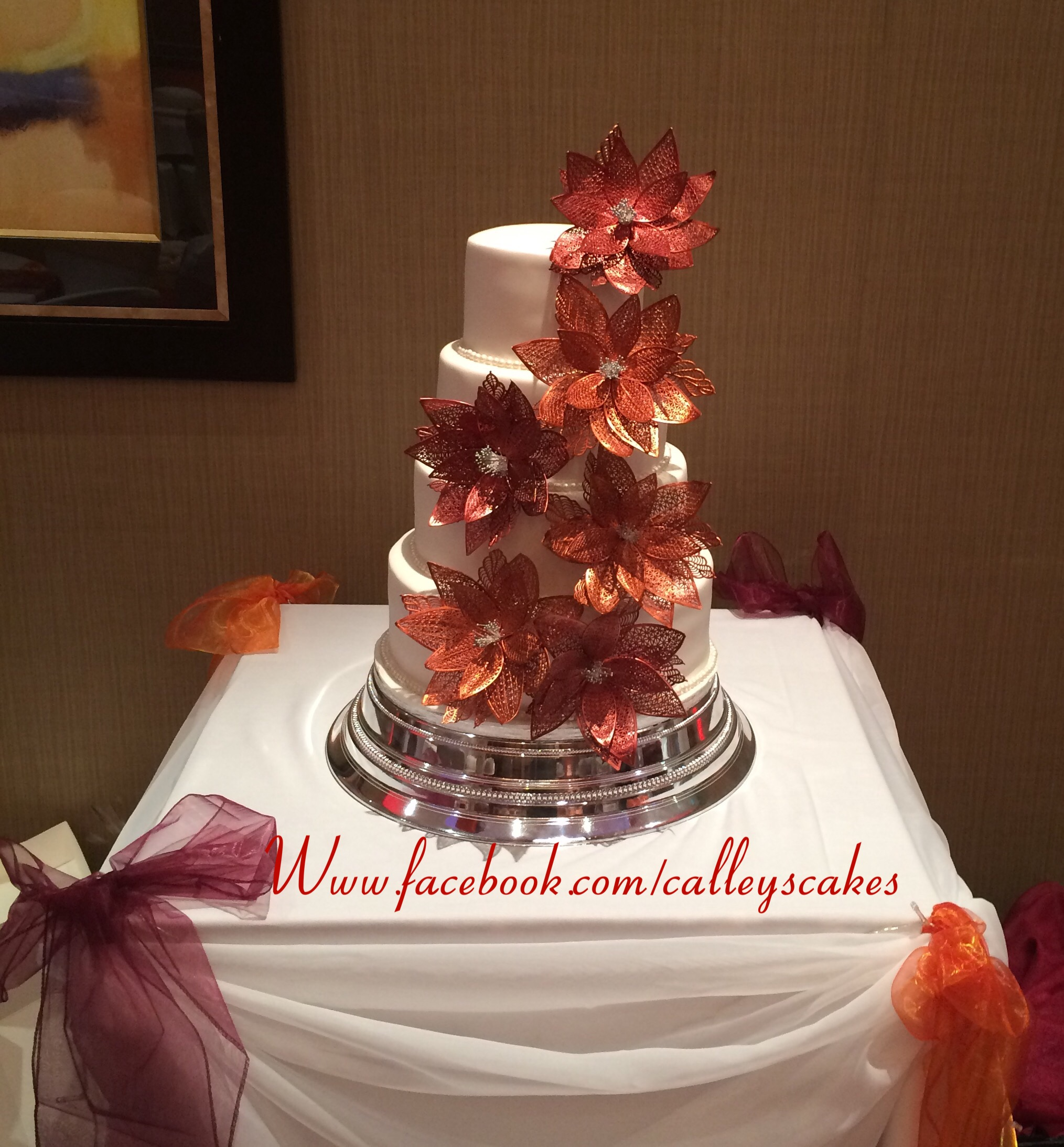 red and orange wedding cake