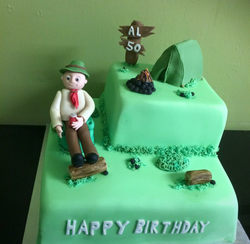 camping themed birthday cake