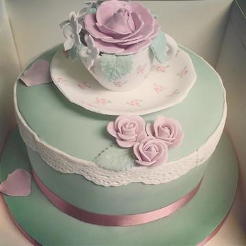 Vintage birthday cake, birthday cake, teacup cake