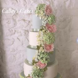 Spring flower cascade wedding cake