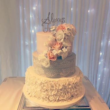 three tier wedding ccake at Alexander House hotel