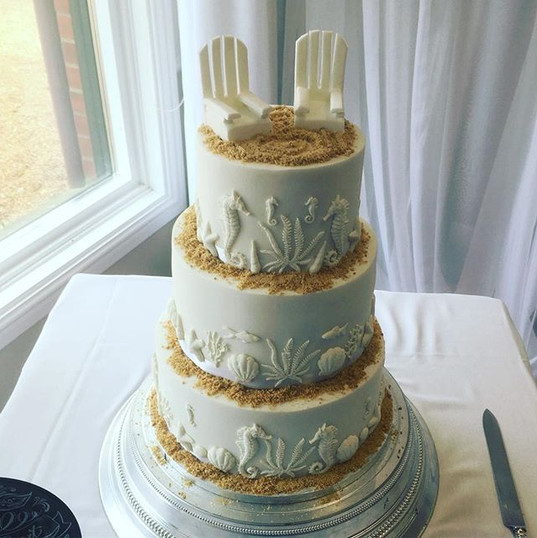 beach themed wedding cake at the hickstead hotel
