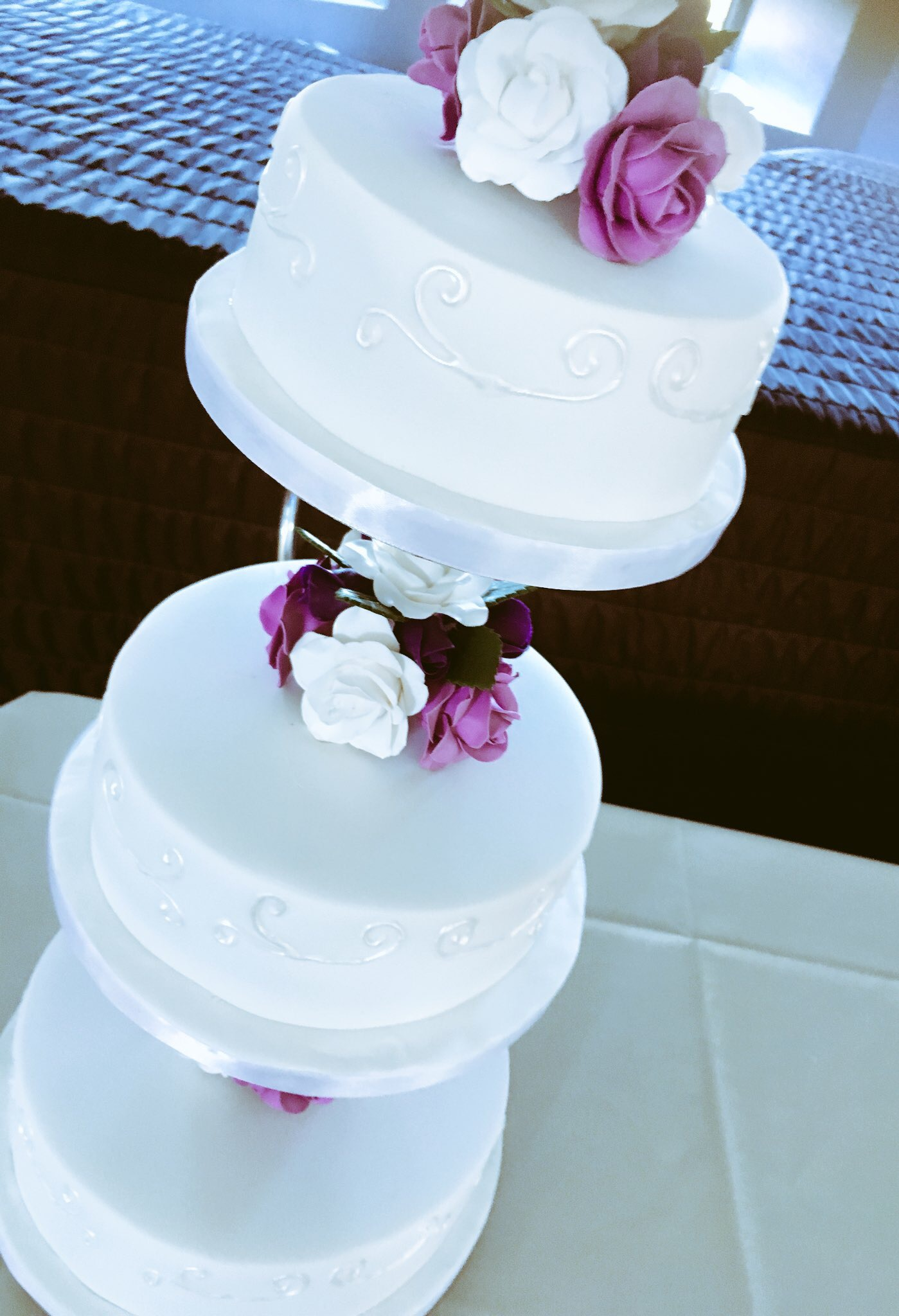 separated wedding cake