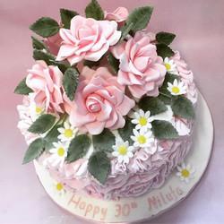 Floral 30th birthday cake