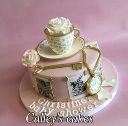 alice in wonderland cake, baby shower cake, baby cake, vintage alice in wonderland cake, watch cake, themed cake, themed baby shower cake, teacup cake, new baby cake, Brighton baby shower cake, elegant baby shower cake, pretty baby shower cake
