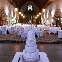 4 tier chic wedding cake white