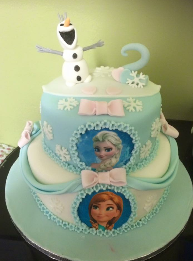 frozen two tier girls birthday cake