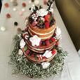 Naked Wedding cake, Worthing wedding cake, naked cake with flowers, naked cake with fruit, naked cake with berries, barn wedding cake, rustic wedding cake, gypsophila wedding cake, three tier naked cake, wedding cake