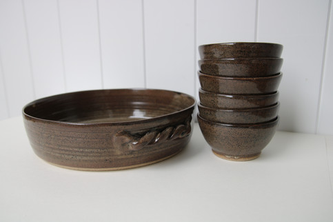 large serving dish and bowls