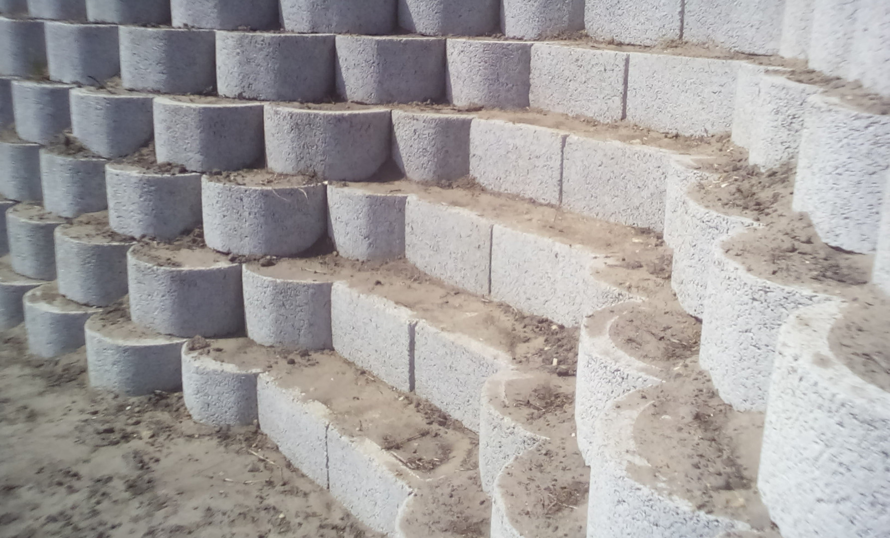 Staircase created with retaining blocks