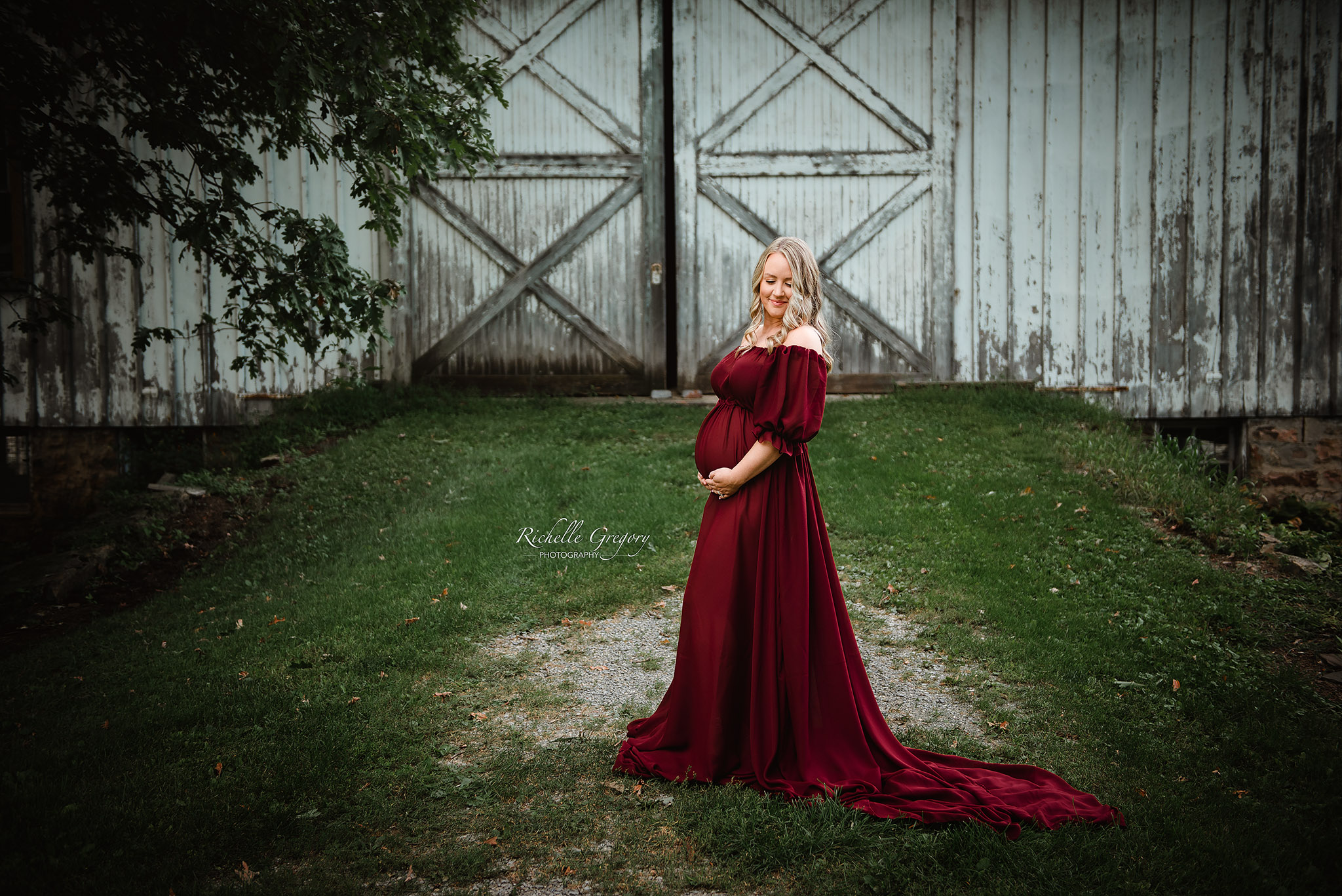 Burgundy toss gown
