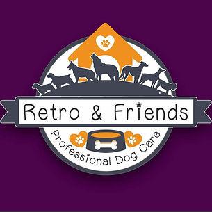 Dog walking, home dog boarding, retro and friends logo