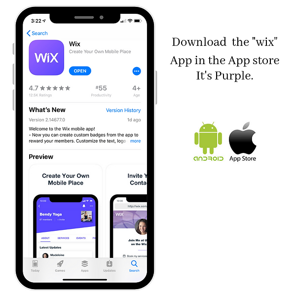 Download the _wix_ App in the App store.