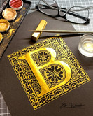 Ornamentbuchstabe B in gold
