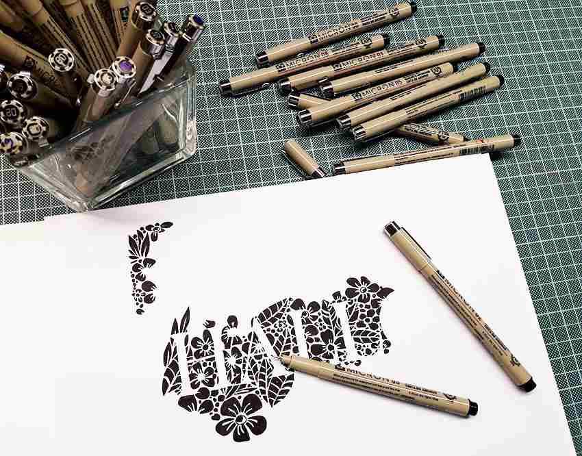 Negativschrift mit Pigma Micron Stiften