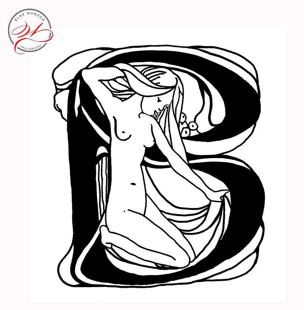 Jugendstil Buchstabe B mit lieblichem Frauenabbild