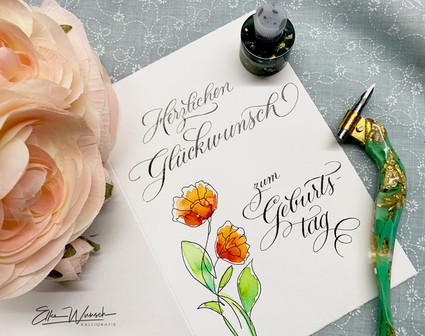 Kalligrafische Geburtstagskarte