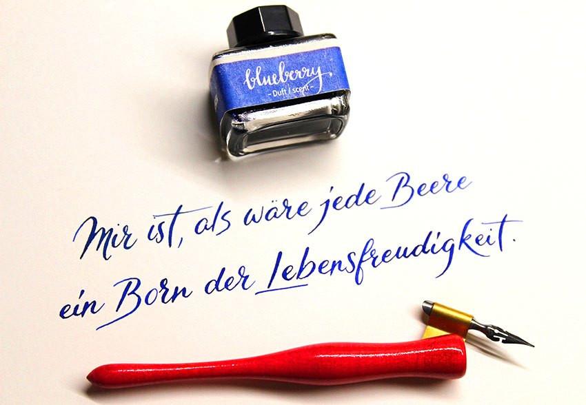 Wunschbriefe Tintentest Blueberry Blaubeere Dufttinte Tinte Ink Pointedpen Nib Spitzfeder
