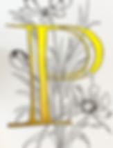 Ornamentbuchstabe P mit floralen Element