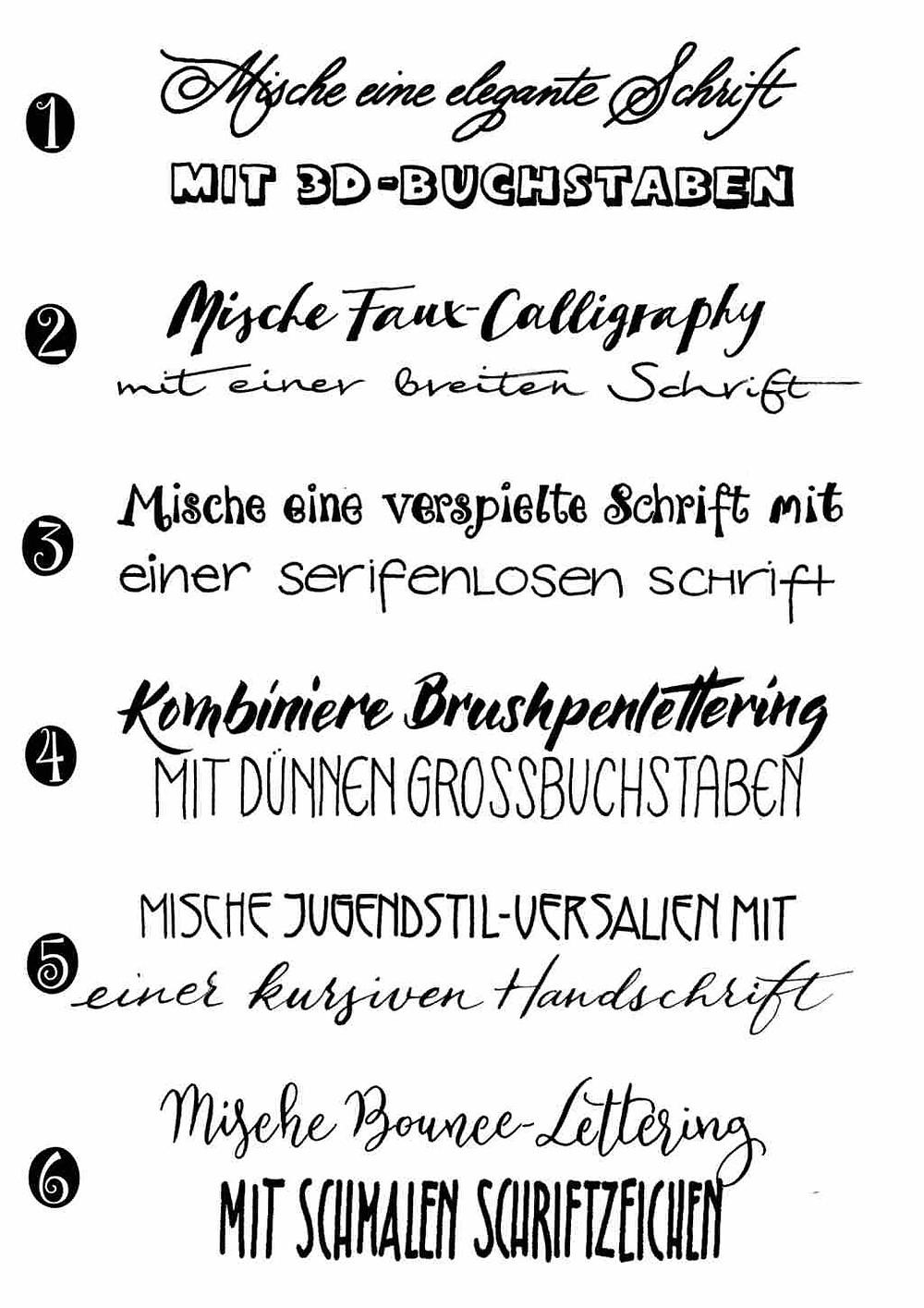 Kombination von verschiedenen Schriftstilen