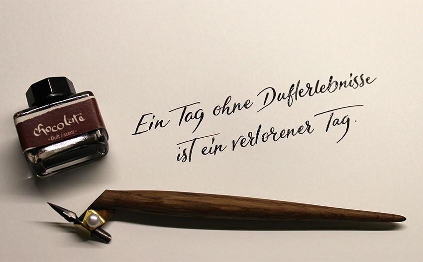 Wunschbriefe Tintentest Dufttinte Kalligrafie