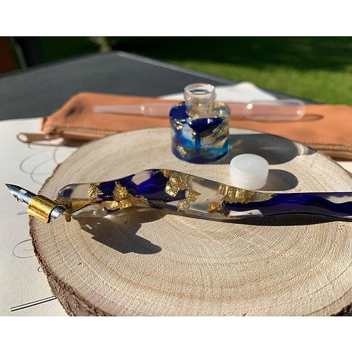 Ergonomisches Federhalter-Set in dunkelblau/gold