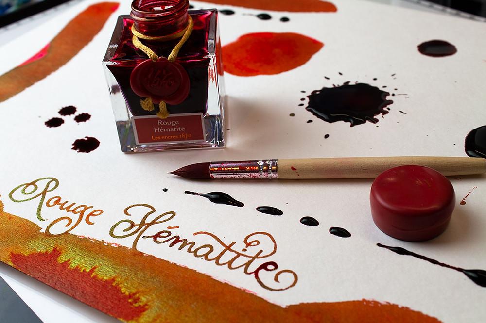 Tintentest mit Rouge Hématite auf Aquarellpapier