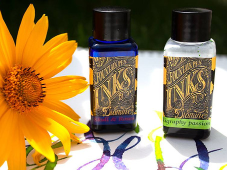 Wunschbriefes Tintentest - Diamine Teil 2: Skull & Roses und Calligraphy Passion Ink