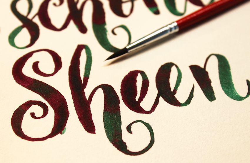 """Wunderschöner Sheen-Effekt von Diamines Tinte """"November Rain"""""""