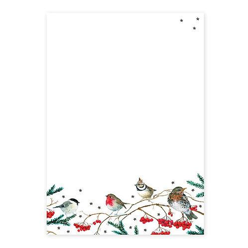 Briefpapier-Set Wintervögel