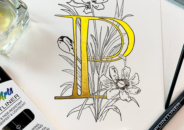 Floraler Ornamentbuchstabe P