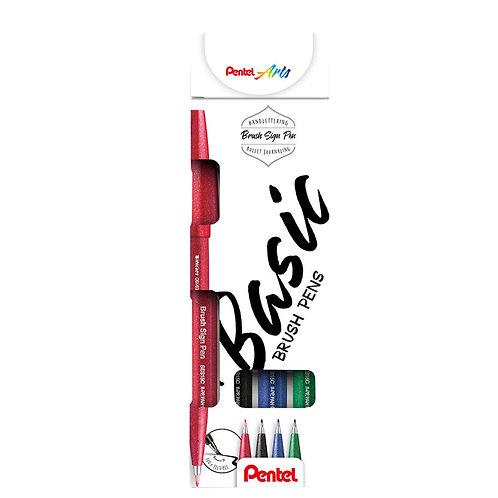 Pentel Brush Sign Pen - Basic Set
