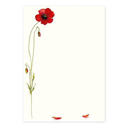 Briefpapier-Set Mohnblüte