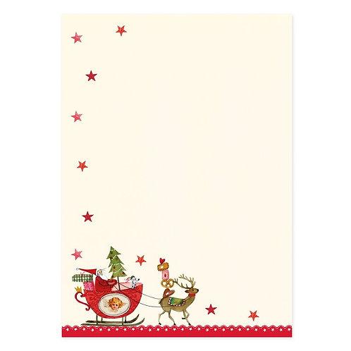 Briefpapier-Set Weihnachtsschlitten