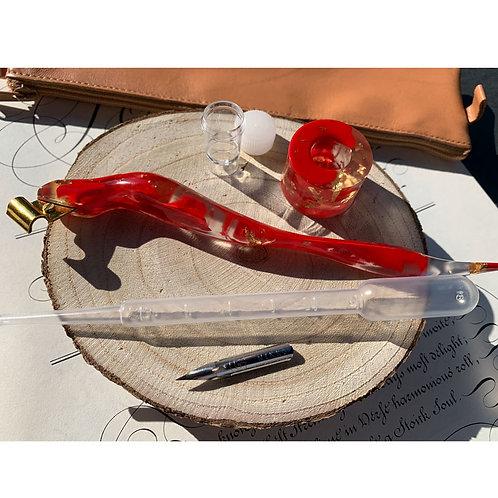 Ergonomisches Federhalter-Set in rot/gold