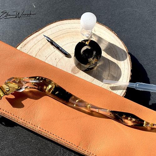 Ergonomisches Federhalter-Set in schwarz/gold