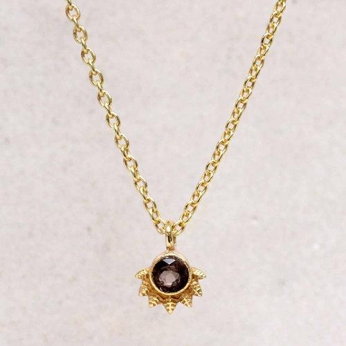 Kette Smokey Quarz Dot with Crown Gold