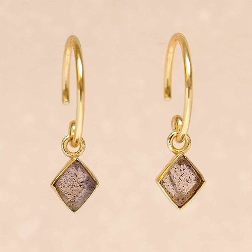 Ohrringe Hanging Labradorit Diamond Gold