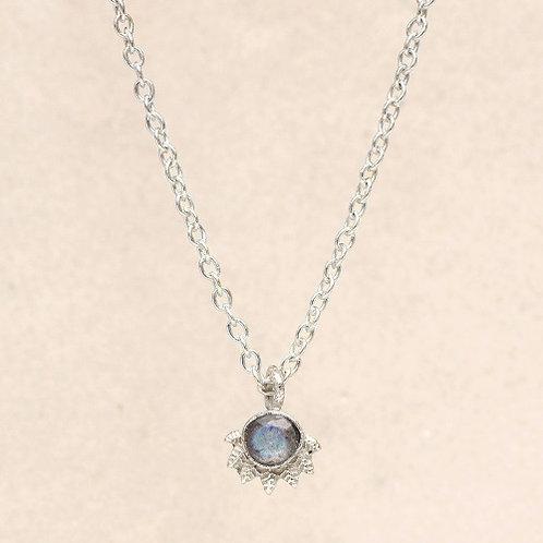 Kette Labradorite Dot with Crown Silber