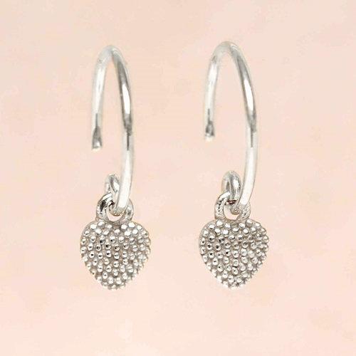 Ohrringe Hanging Heart Silver