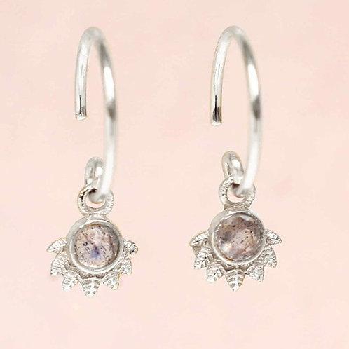 Ohrringe Hanging Labradorit Dot with Crown