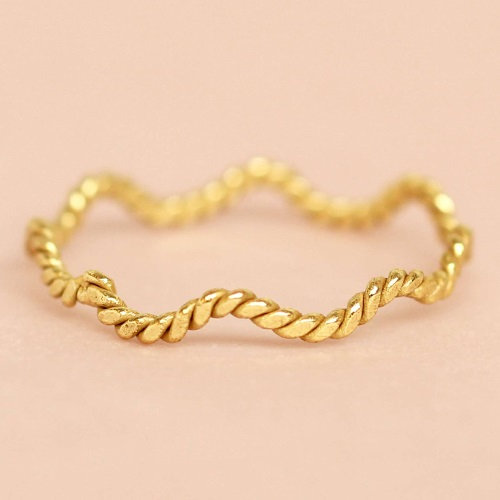 Ring Wave Striped Gold
