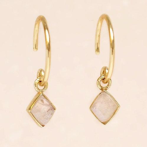 Ohrringe Hanging Moonstone Diamond
