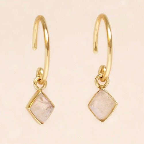 Ohrringe Hanging Moonstone Diamond