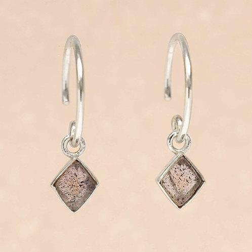 Ohrringe Hanging Labradorit Diamond Silber