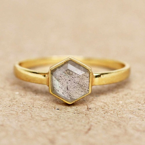 Ring Labradorite Hexagon