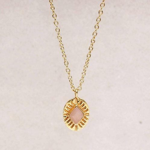 Kette Peach Moonstone Diamond Striped