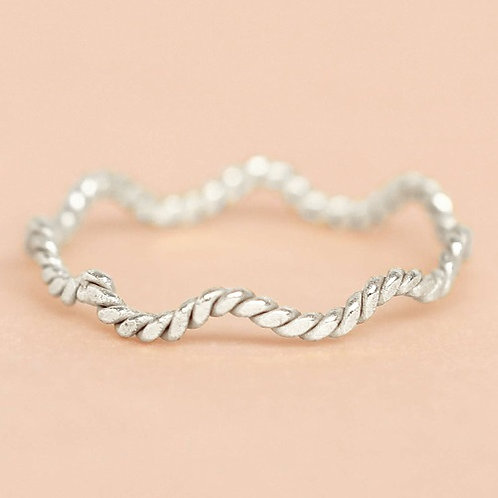 Ring Wave Striped Silber